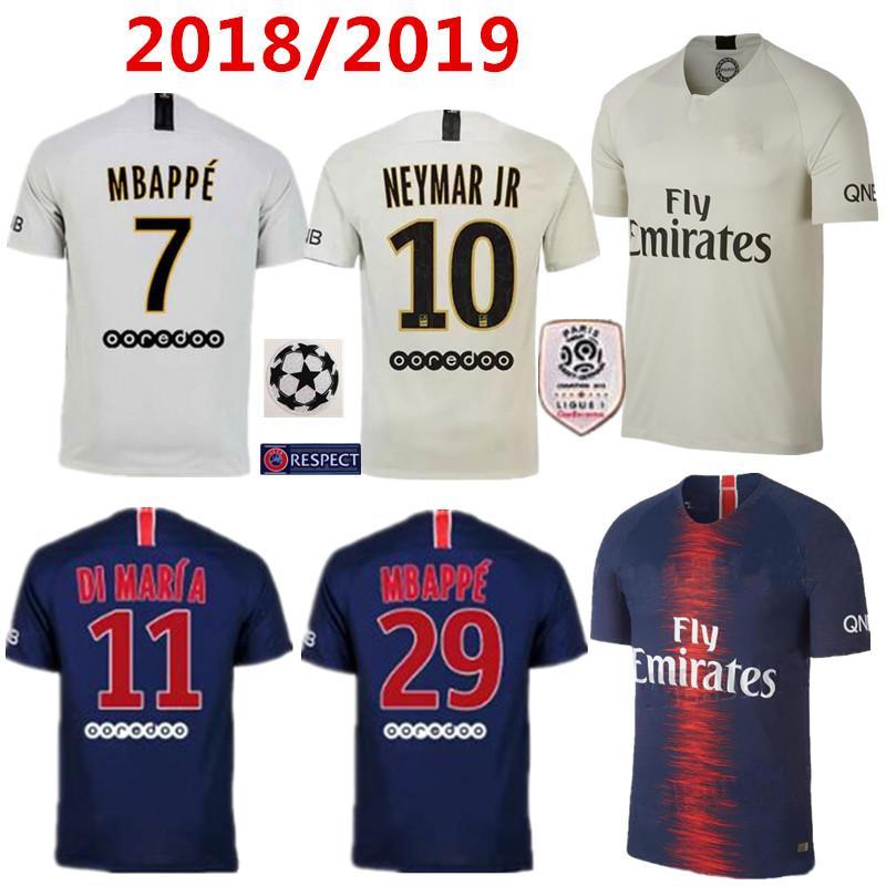 0fce41d64 Compre 2018 19 Paris Camisa De Futebol Com Ligue 1 Remendo 18 19 Mbappe  CAVANI PSG Casa Camisas De Futebol Survetement Maillot De Foot Customiz De  ...