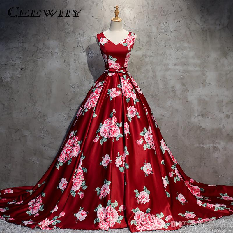 CEEWHY Floral Printed Ball Gown Burgundy Long Evening Dresses Prom ...