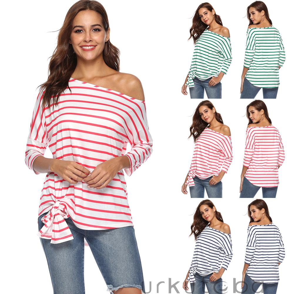 dffdb51e4b8f4 Womens Casual Loose Long Sleeve T Shirts Tops One Shoulder Off Lace Up  Striped T Shirt Tee Shirts Casual Shirt Short Sleeve Shirt From Caicloth