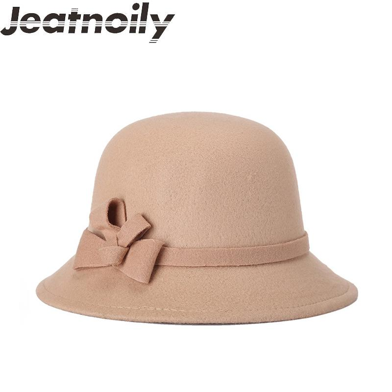 c4fd696f1 Elegant Vintage Brick Red Cloche Hat 100% Wool Felt Black Fedoras Bowknot  Autumn Winter Bowler Hats For Women