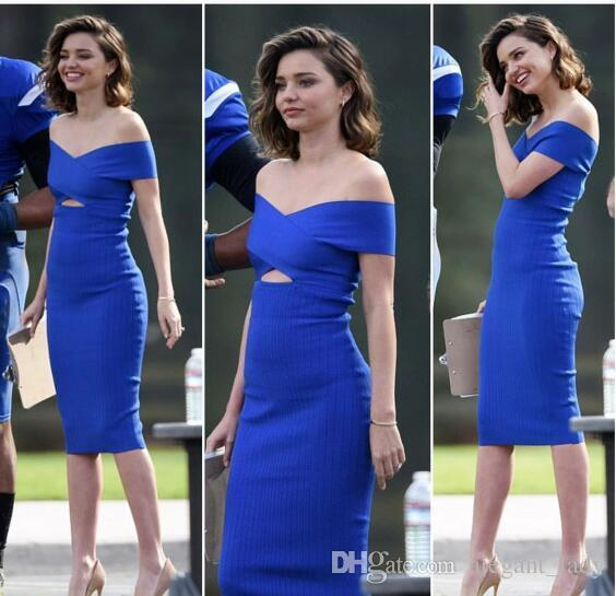 Miranda Kerr Royal Blue Short Prom Cocktail DDresses 2019 Sexy Simple  Design Off Shoulder Sheather Tea Length Party Evening Gown Vintage Inspired  Cocktail ... f61c6b00d