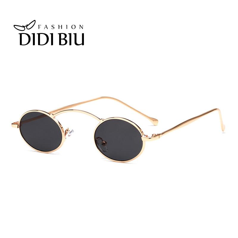7d737f5064 Steampunk Oval Small Sunglasses Women 90s Vintage Gold Black Metal Frame  Tiny Sun Glasses Men Mini Round Gothic Oculos WN1078 Sunglasses Case  Knockaround ...