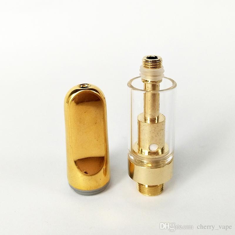 2018 Instock Golden CCELL Patrone TH205 Glas Zerstäuber 2,0 mm Ölloch Patrone Keramik Spule Keramik Mund Extrakt Öl Vape Patronen