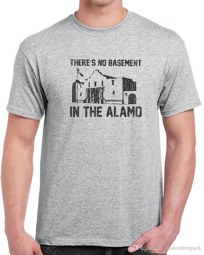 8238732fedfbf4 Großhandel 066 Theres Kein Keller Im Alamo Herren T Shirt Lustige Film  Texas 80s Vintage T Shirt Männer Sommer Kurzarm Mode Benutzerdefinierte Xxxl  Paar Ca ...