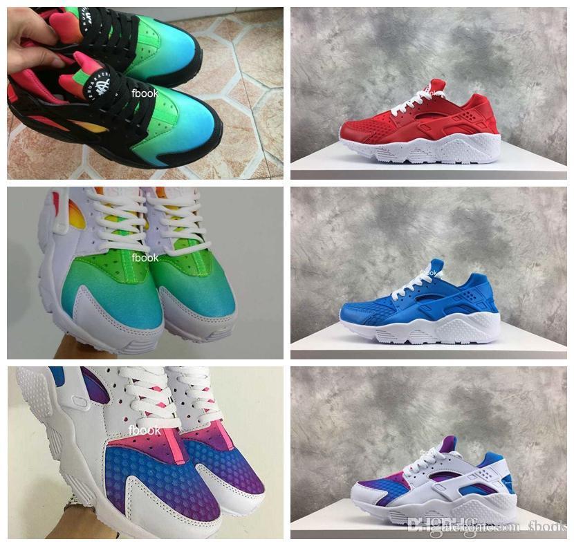 a3c5164d08f9 Compre 2018 New Air Huarache Sky Blue Rainbow Red White Chorro De Tinta  Zapatos Para Correr Para Hombres