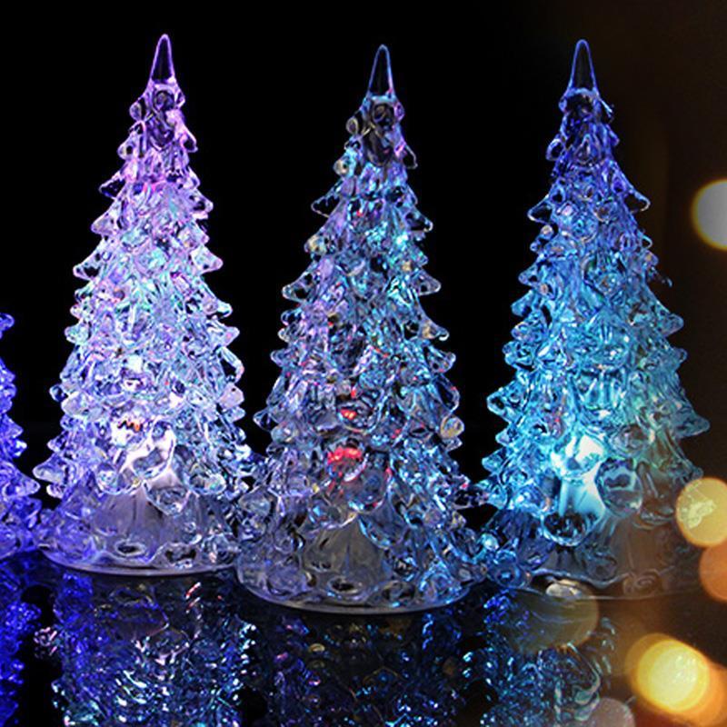 Colorful Crystal Acrylic Christmas Tree Led Night Light Changing