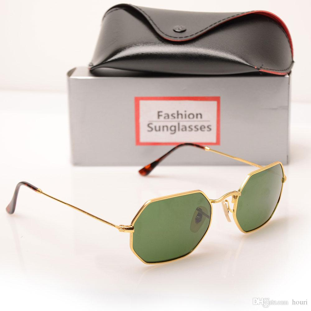 Top Qualität 3556 Mode Sonnenbrillen für Mann Frau Eyewear Designer Marke Sonnenbrille Achteckige Sonnenbrille UV4 Linsen Gold Frame Green Lens