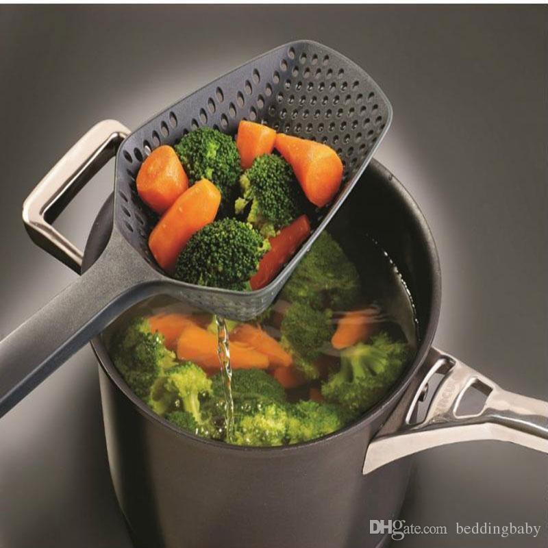 Black Cooking Shovels Vegetable Strainer Scoop Nylon Net Spoon Large Colander Soup Filter Kitchen Tools