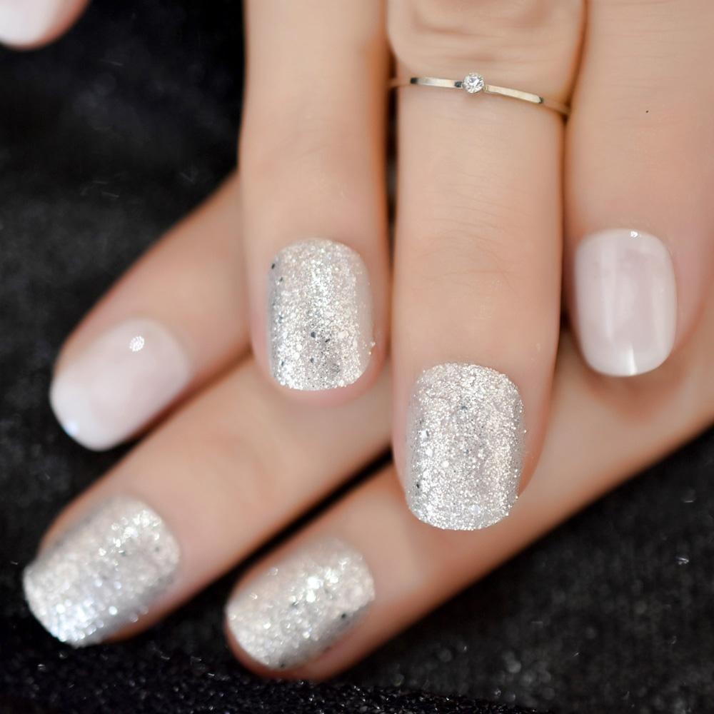 Daily Wear False Nail Tips Silver Powder Decoration Short Press On Nails  Milk White Shiny Tip for fingers
