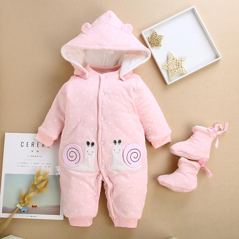 de10a89f1 2019 Winter Baby Rompers Cotton Cartoon Hooded Thick Newborn Baby ...