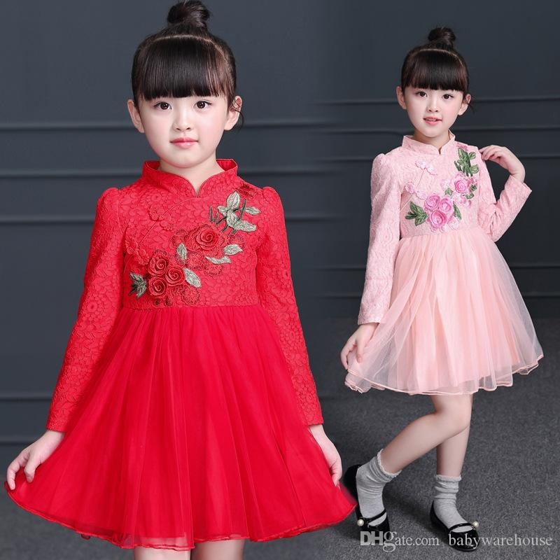 2019 Girls Clothing New Year Dress 2018 Spring Autumn Winter Flower Girls  Princess Party Dress Cheongsam Chinese Style Kids Dresses Birthday Gift  From ... 73a98f877