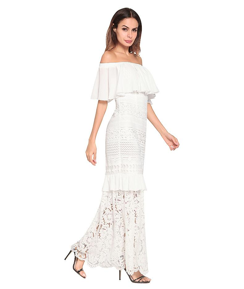 Women Long Dress Bodycon Elegant Summer 2018 Casual Boho Lace Stitch Strapless Beach Party Holiday Ladies Floral Ruffle White Black