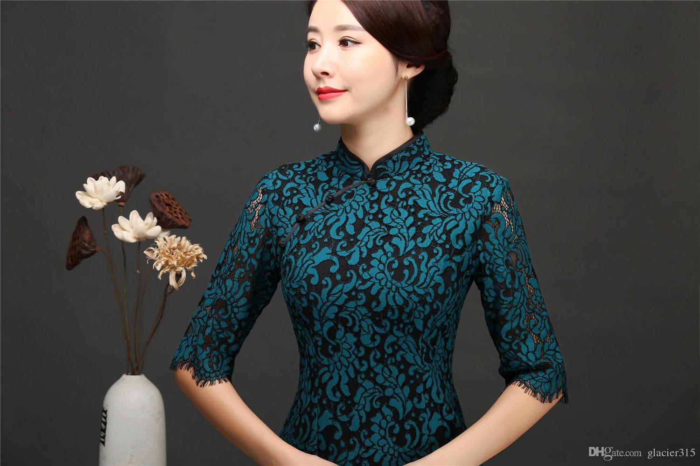 Shanghai Story Lace Cheongsam with lining Half Sleeve Long Qipao Dress Dark Green Oriental Style Dresses For Women