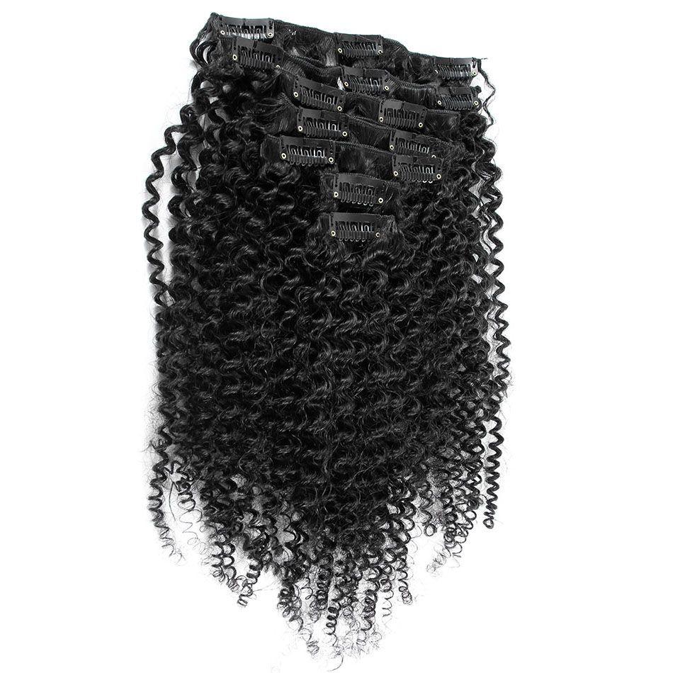 Clip capelli ricci kinky mongoli in 7 pz / set clip nelle estensioni dei capelli umani clip capelli naturali in Ins 4b 4c