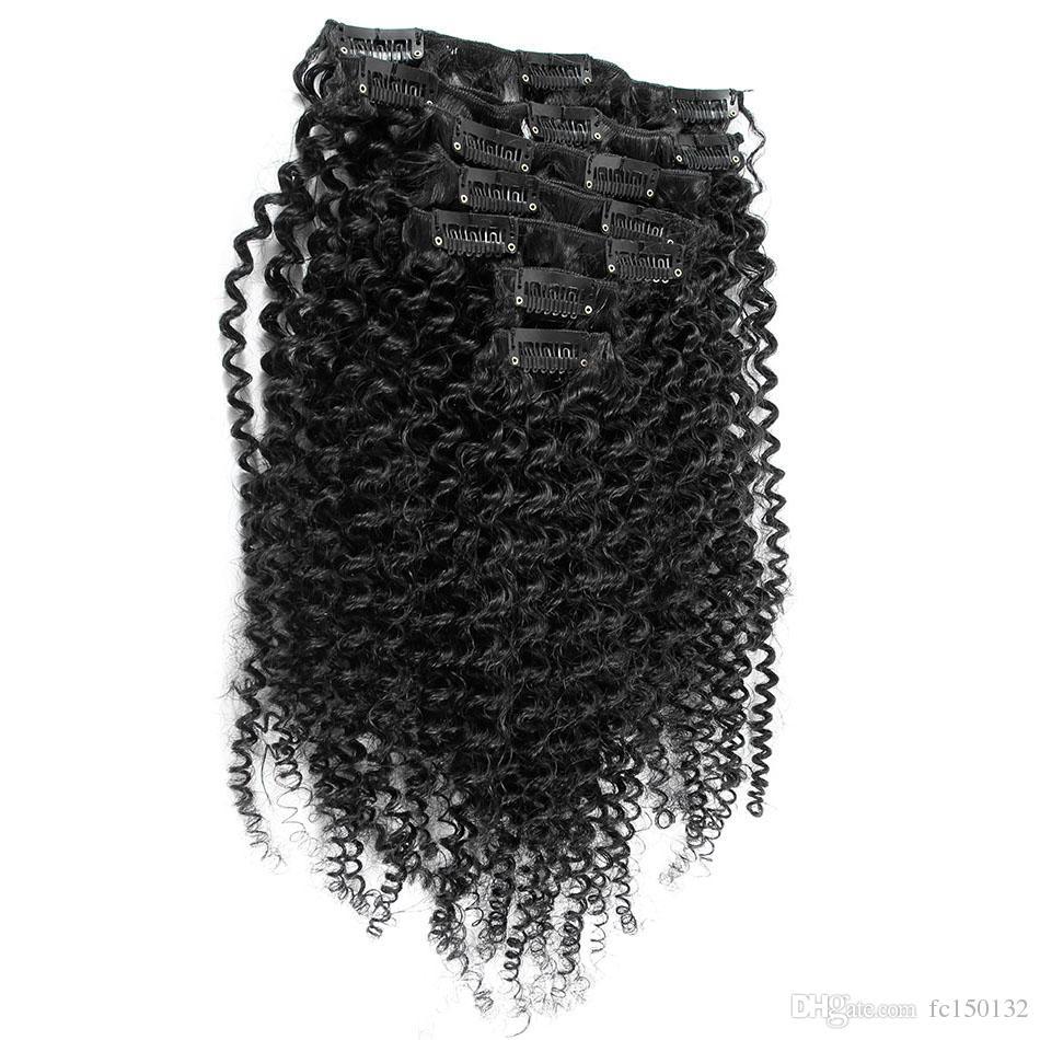 Mongolian Kinky Curly Hair Clip no clipe de / set em extensões de cabelo humano clipe de cabelo natural 4B 4C
