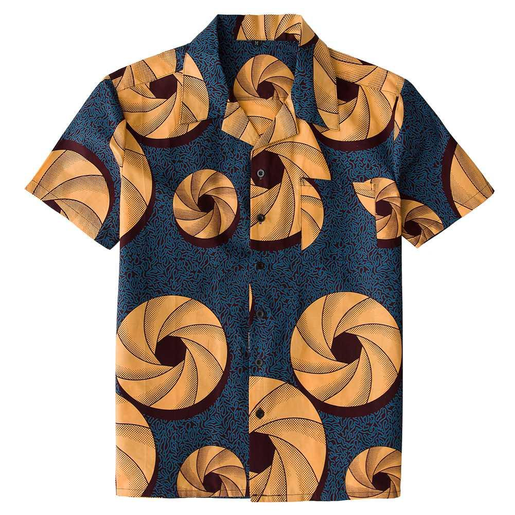 2019 African Print Button Down Shirt 90s Vintage Hip Hop Style