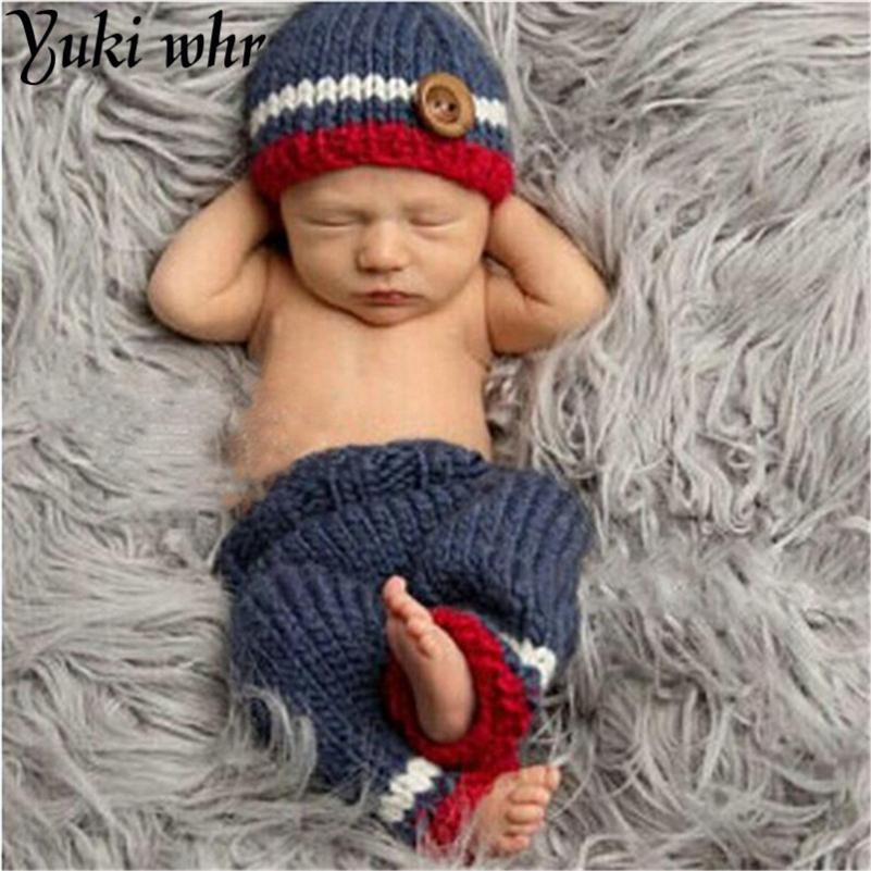 8156c779480 2019 0 6M Newborn Baby Photography Props Infant Knit Crochet Costume Blue  Striped Soft Outfits Elf Button Beanie+Pants From Sophine13