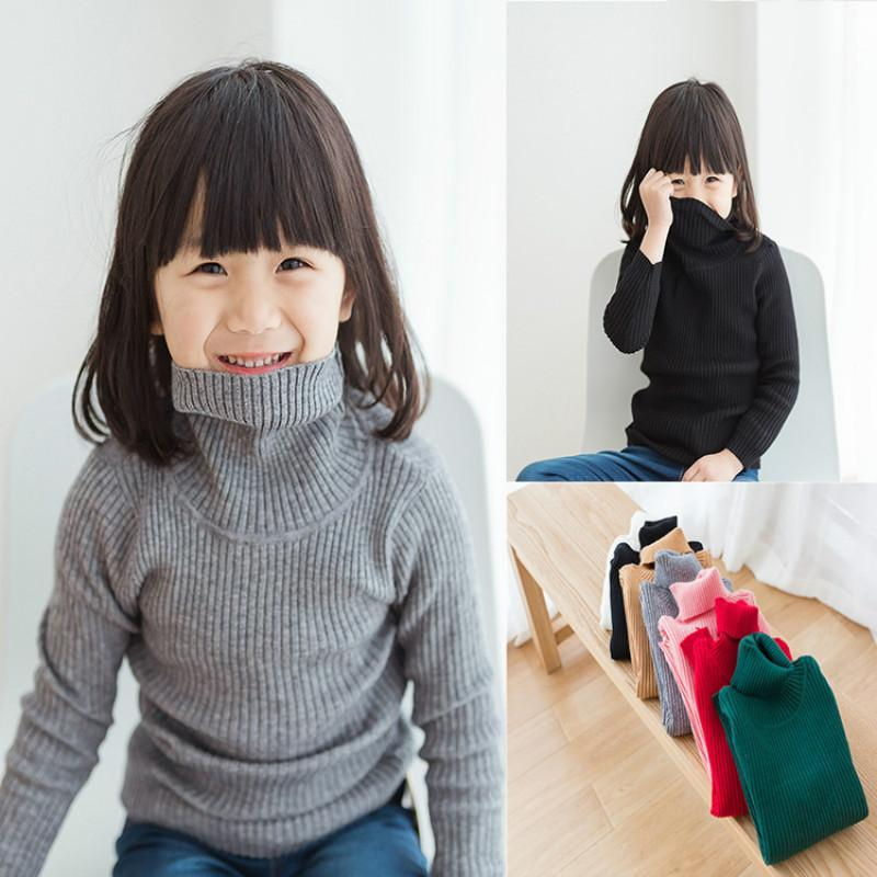 52e346a88 Girls Turtleneck With Beard Label Solid Baby Kids Sweaters Soft Warm ...