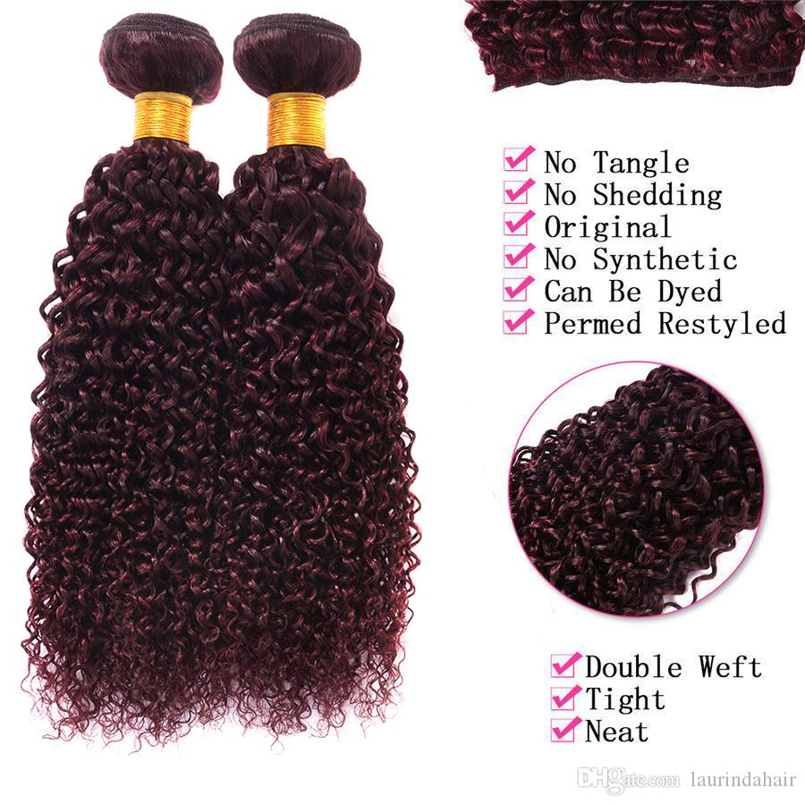 Brazilian 99J Curly Hair Weft Burgundy Human Hair Bundles Deep Wave Wine Red Peruvian Hair Weaves Dhl Free