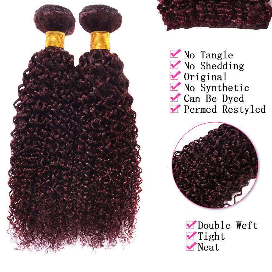Burgundy Virgin Brazilian Human Hair Curly Wine Red Hair Weave 99J Kinky Curl Hair Bundle Wave With Closure