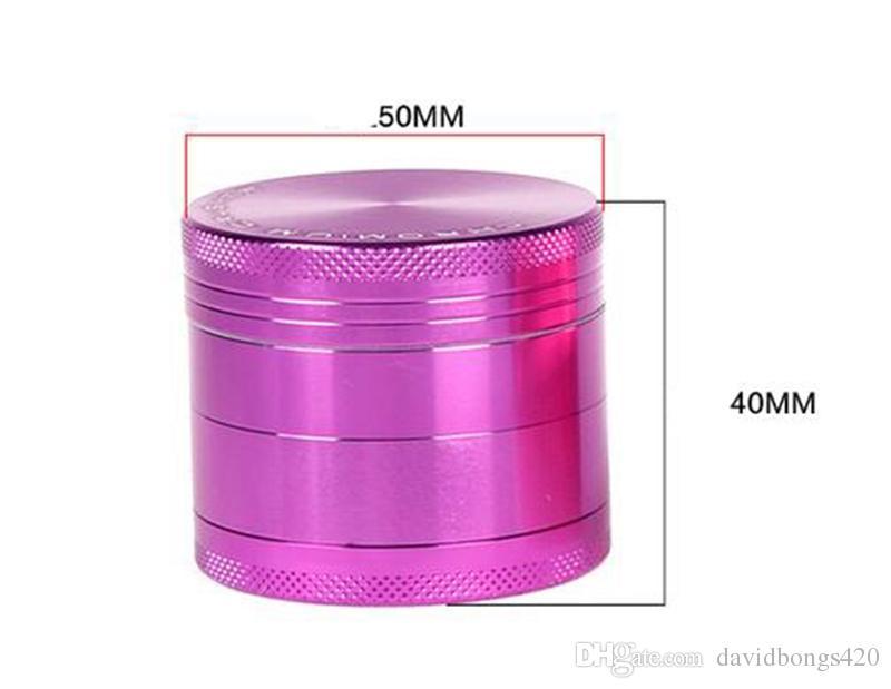 4 Parça Alaşım Öğütücü Pembe Mor Krom Kırıcı Metal Ot Değirmeni 50mm Çapı Alüminyum Alaşım Tütün Bitkisel Öğütücüler Için Dab Rigs 500-4