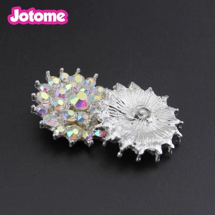 Hot Promotion Cheaper price round AB rhinestone button, wedding rhinestone button for dress