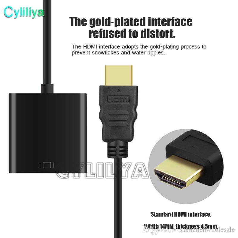 1080p HDMI a VGA Convertidor Audio Video Cables DP Display Puerto Macho a VGA Hembra Convertidor Cable Adaptador 100 Unids DHL Con Paquete Opp
