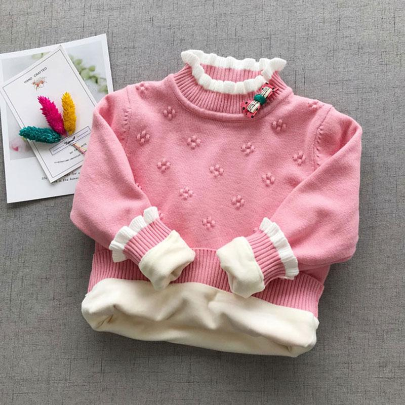 Newborn Baby Girls Wear Clothes Outfits Velvet Knit Pullover Sweater