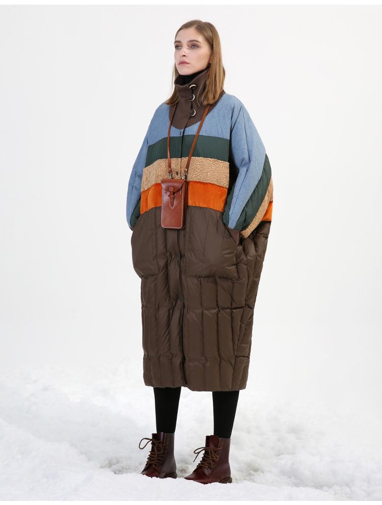 Original Design 2018 winter coat turtleneck batwing sleeve multi colored patchwork oversized long white duck down jacket women