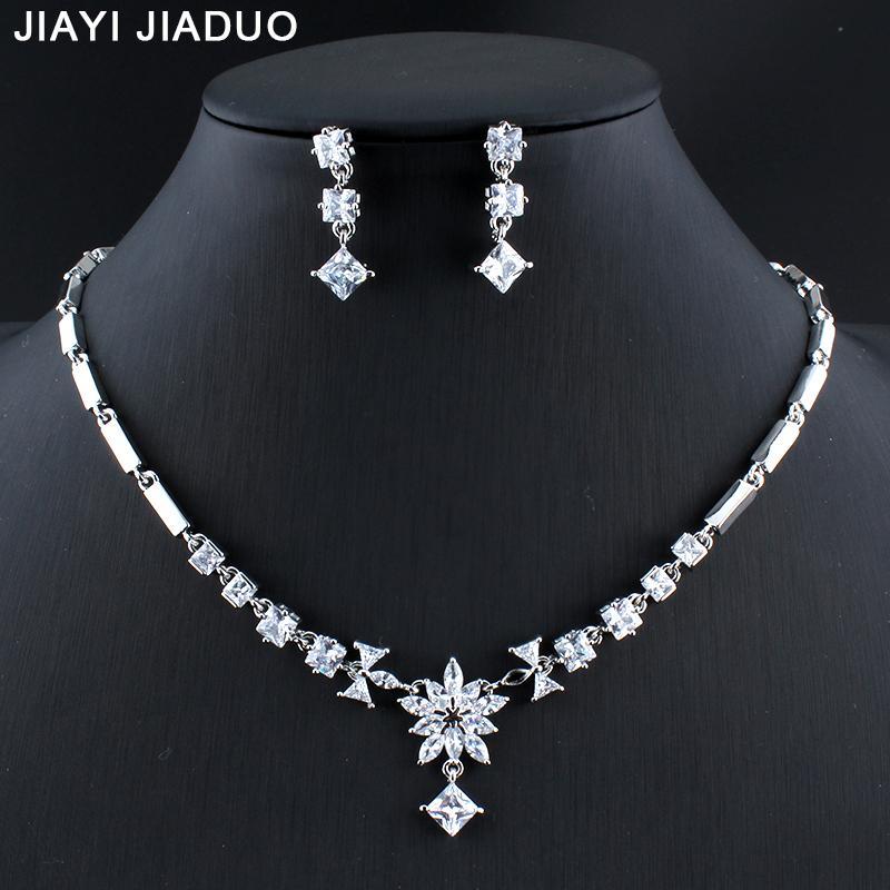 ebe55ac39956 Toda la ventajiayijiaduo Conjunto de joyas de boda para mujeres Vestido de  la joyería Copo de nieve Collar Pendientes Conjunto de exquisito circón  regalos ...