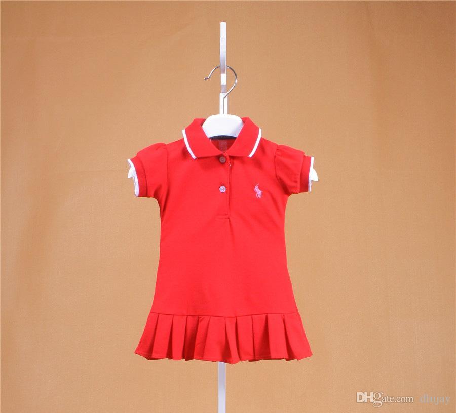 b77c4e6b7 2019 Brand New Kids Dress Casual Girls Lapel Polo Dress Baby Cotton ...