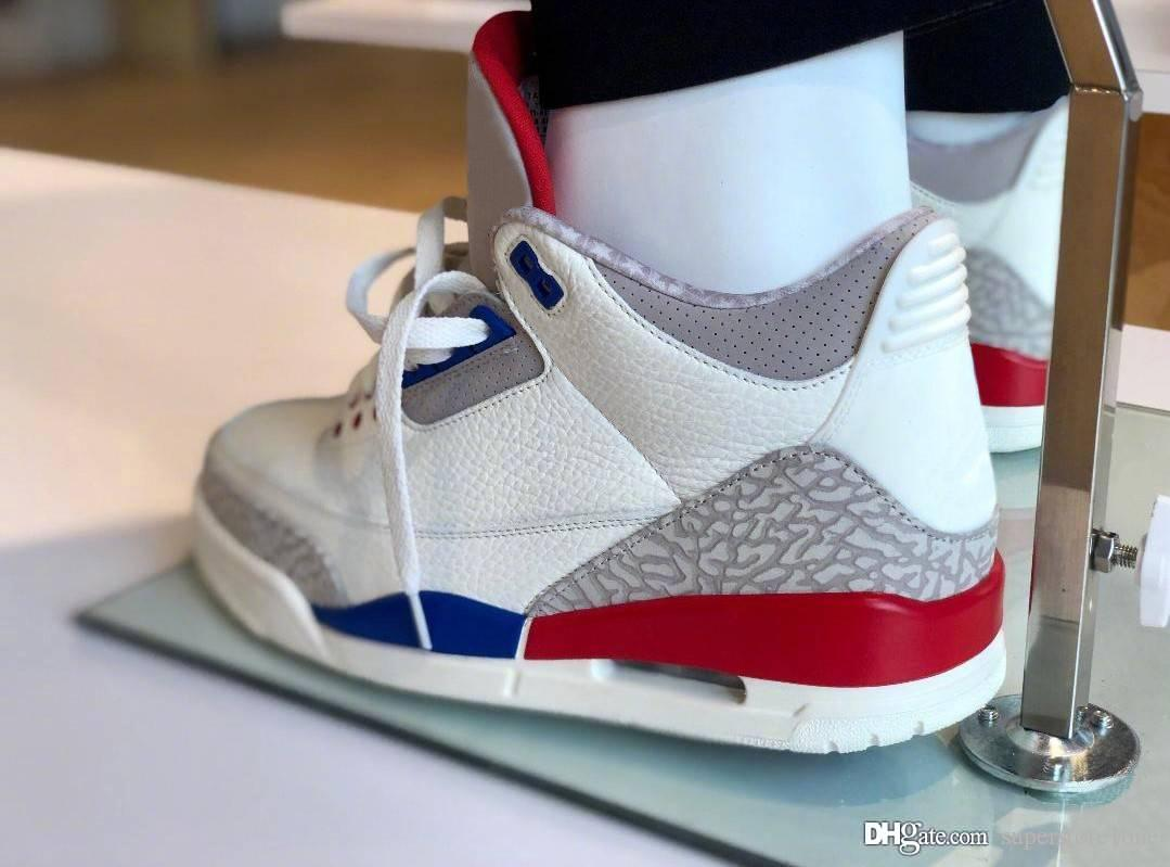 358b8bcf44c1 2019 3 USA Charity Game White Cement Blue Red International Flight 3S III  Men Basketball Shoes 136064 140 Authentic Quality Sneakers Shoes Box From  ...