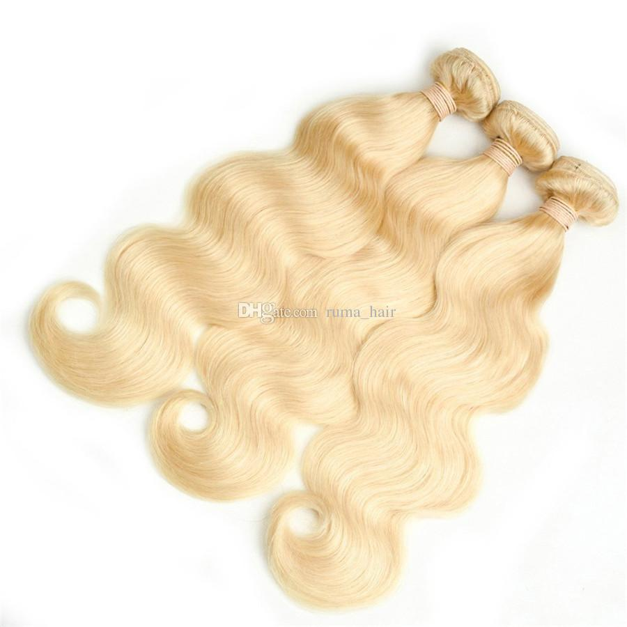 Body Wave Blonde Human Hair Weaves Malaysian Virgin Unprocess Hair #8A Grade Body Wave Hair Extension Fast Shippng by DHL