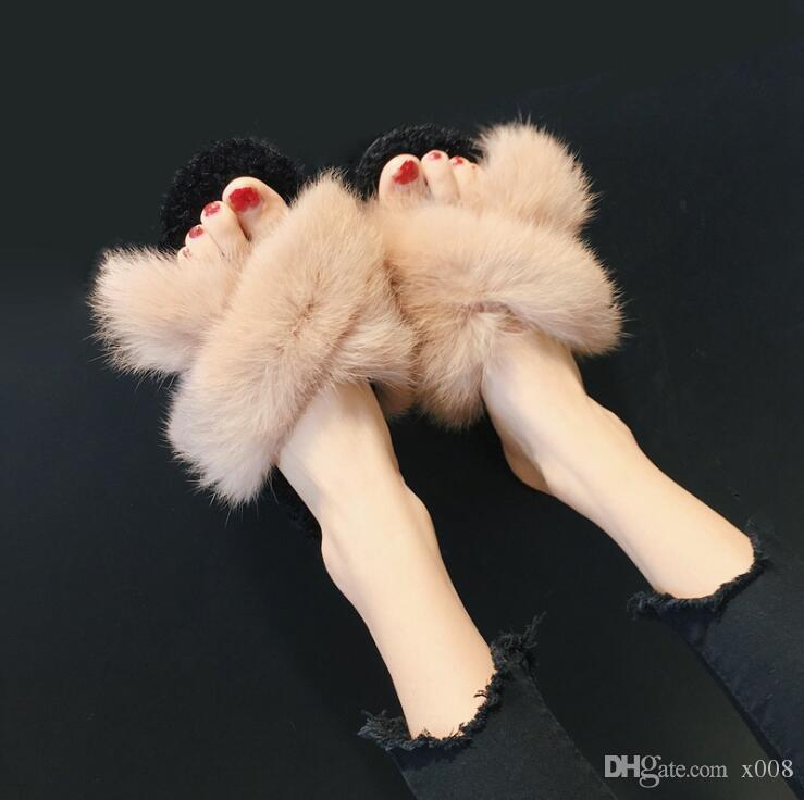 bc8834fd808d New Women s Furry Slippers Ladies Cute Plush Fox Hair Fluffy ...
