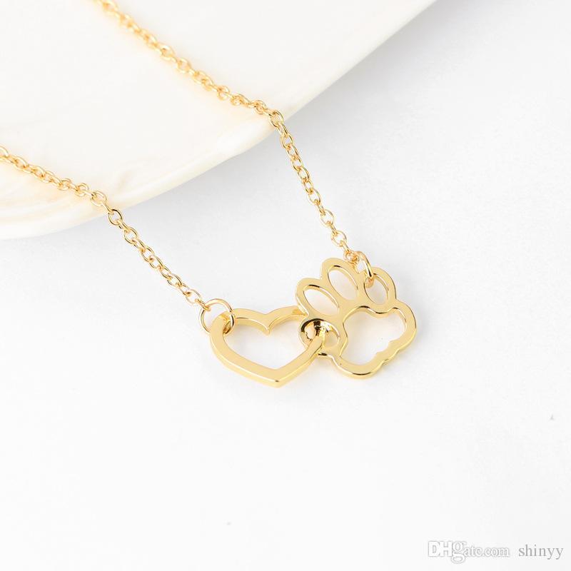 Collier De Mode Doux Chien Patte Coeur Pendentif Colliers Argent Alliage D'or Collier Court Pour Les Femmes Cadeau