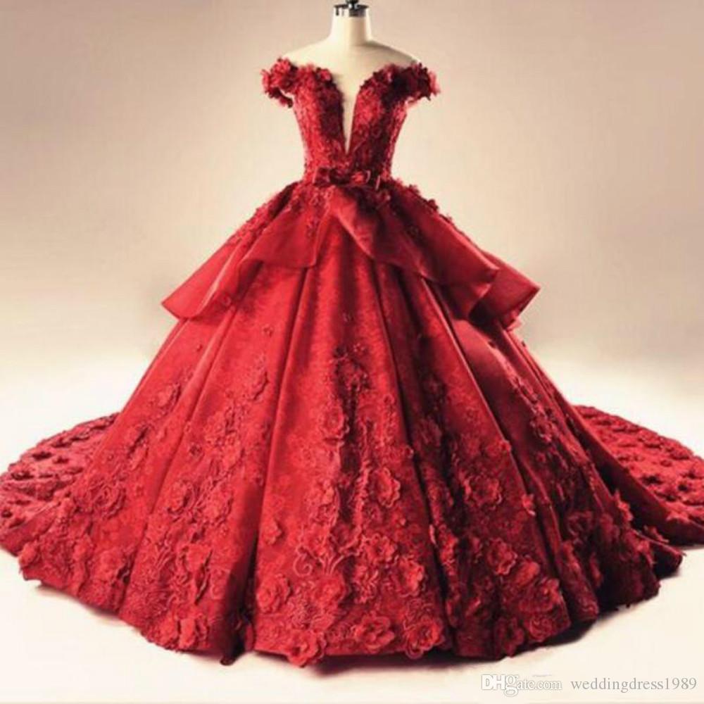 Glamorous Red Lace Plus Size Abiti da sposa Fiore Floreale Lusso Arabia Saudita Dubai vestido de noiva Abito da sposa Ball For Bride Custom