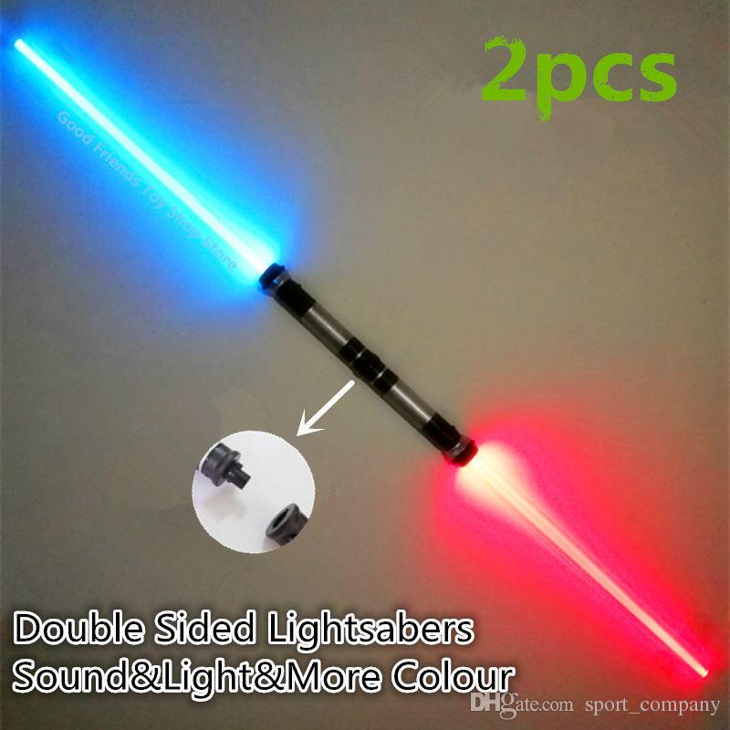 Free DHL LED Flashing Light Sword Toy Induction Telescopic Lightsaber  Cosplay Props Kids Double Light Saber Christmas Toy Gifts