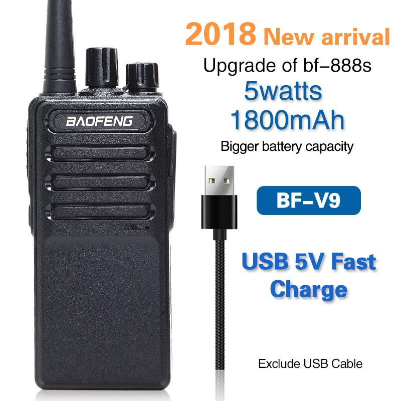 2018 Baofeng BF-V9 USB 5V Fast Charge Walkie Talkie 5W UHF 400-470MHz 16CH  Ham Portable Radios Upgrade of BF-888S Two Way Radio
