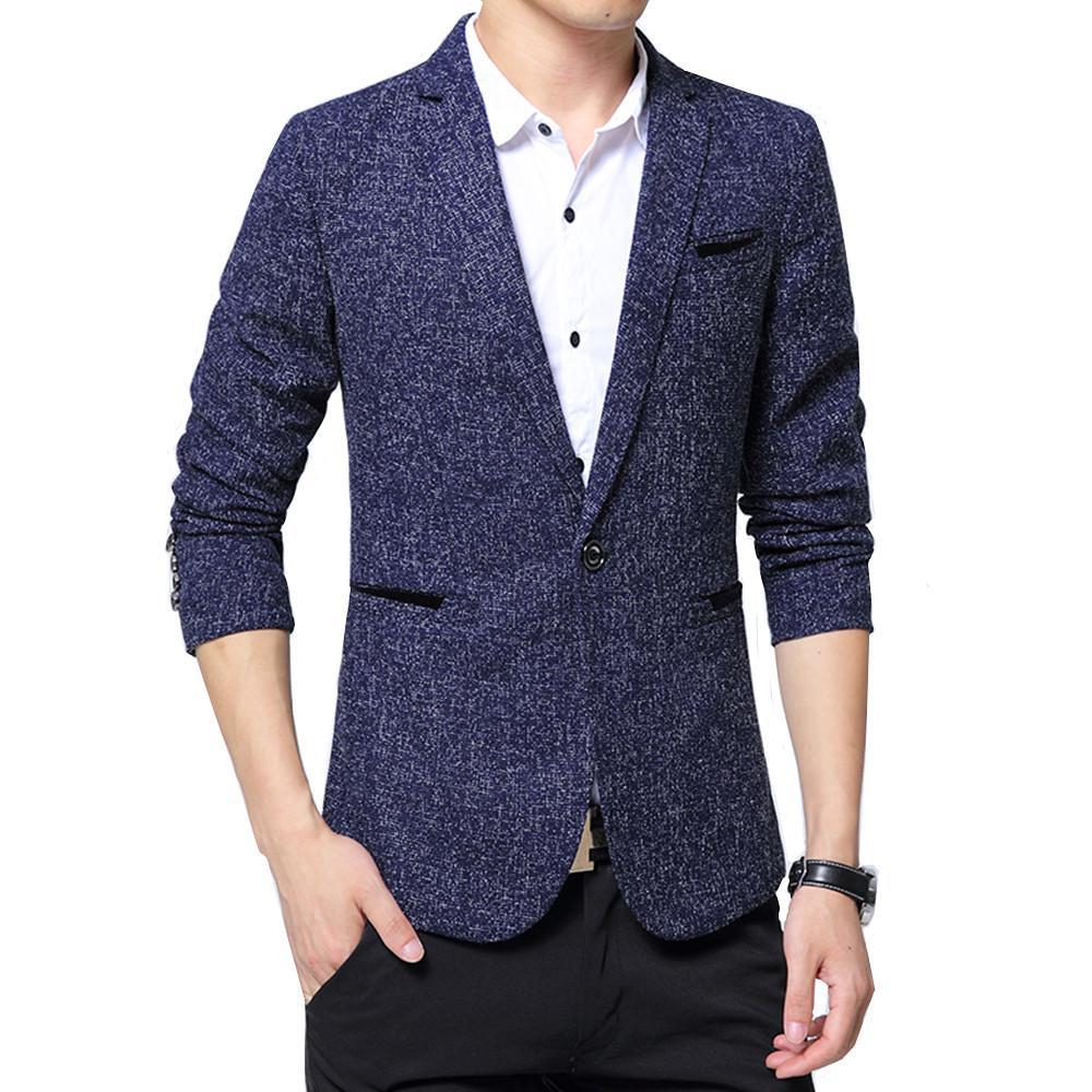 Mens Korean Slim Fit Mode Blazer Anzug Jacke schwarz grau blau plus Größe M 5XL Männlich Blazer Männlich Mantel Hochzeit Business Casual