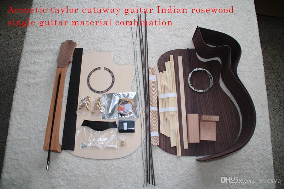 41inch Taylor Cutaway G-Type Acoustic Guitar DIY Kit African Mahogany  Okoume Neck Rosewood Back Side Ebony Fretboard Spruce Top
