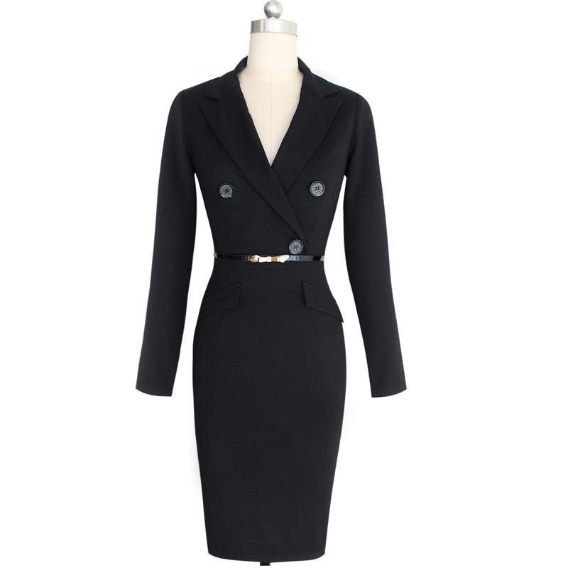 34aaea6860c85 Fashion Autumn Women Dress Suit Ladies Evening Sashes Dress Sets Slim  Button Pocket Business Work Wear Black Elegant Party Dresses White Cocktail  Dress ...