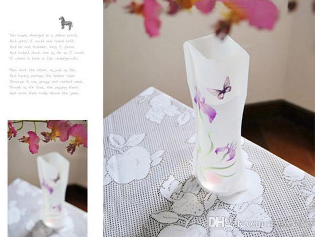DHL Hot Pvc Dobrável Vasos de Água Dobrável Saco De Água De Plástico Festa de Casamento Vasos de Decoração Para Casa Decoração Tablletop Vaso 27 * 12 cm HH7-1075
