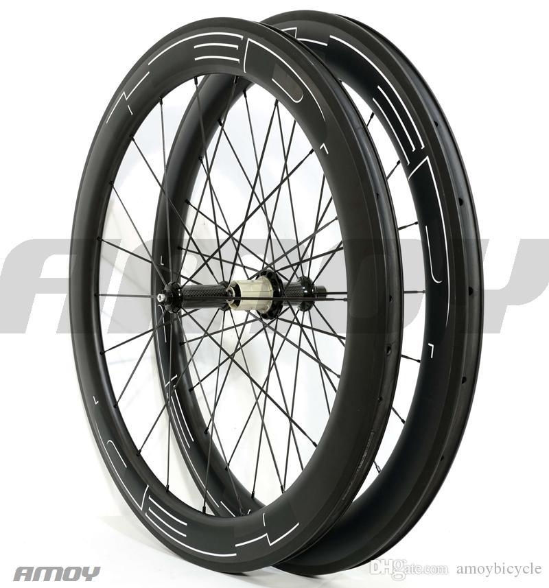 700C Глубина 60 мм Дорожные карбоновые колеса Ширина 25 мм Дорожный велосипедный клинчер / трубчатая карбоновая колесная пара U-образный обод UD с матовой отделкой белые наклейки