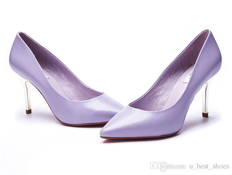 High Heelsdress Shoesbusiness Shoesw Leatherblack And Purple