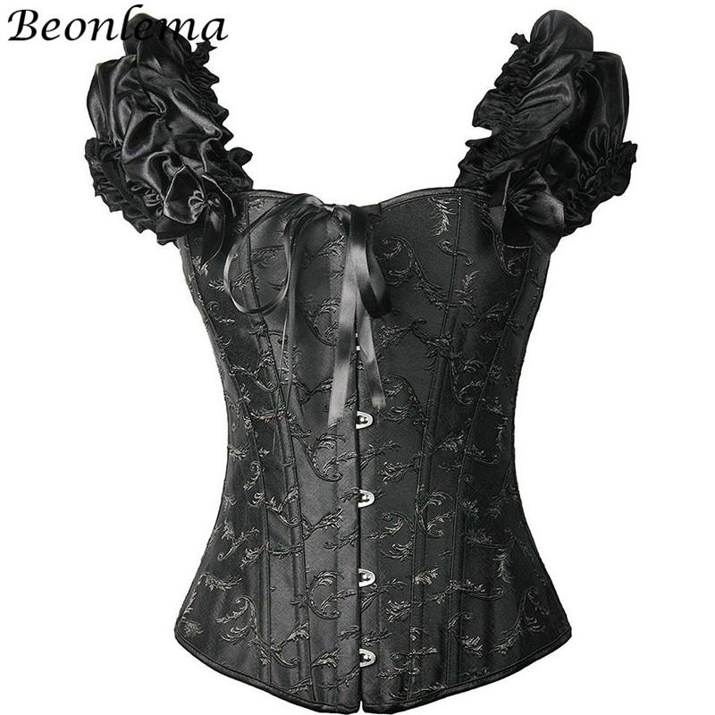 b77efbcd6b6 2019 BEONLEMA 12 Steel Bones Black White Sexy Corpete Ruffles Shoulder  Strap Top Women Embroidery Bustiers Wedding Lingerie Corsellet From  Xinpiao, ...