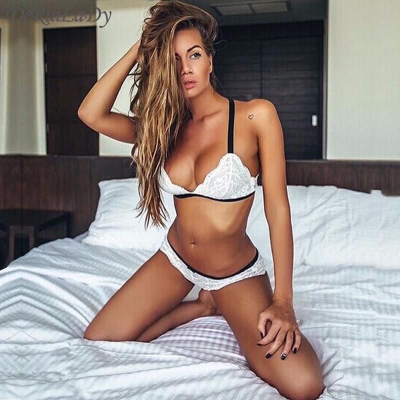 15dfdd471 Compre Lingerie Sexy Branco Conjunto De Sutiã De Renda Moda Sexy Underwear  Mulheres Ultra Fina Sutiã Transparente E Conjunto De Calcinha Conjuntos  Íntimos ...