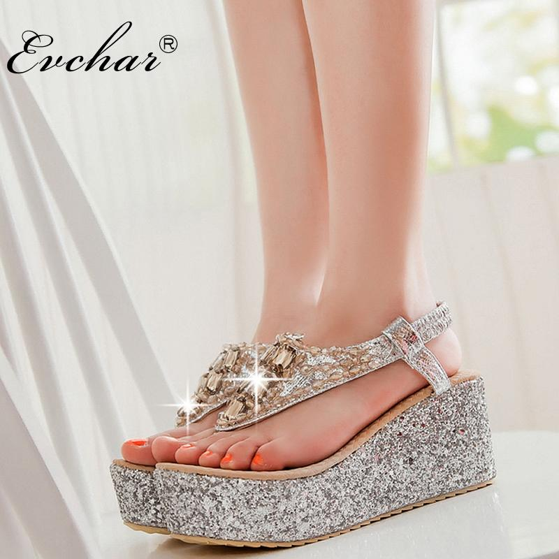 38a32df659988b Wholesale Summer Hollow Wedges High Heels Gladiator Sandals Women S Glitter  Bling Fashion High Heels Shoes Large Size 31 47 Nude Wedges Bridal Shoes  From ...