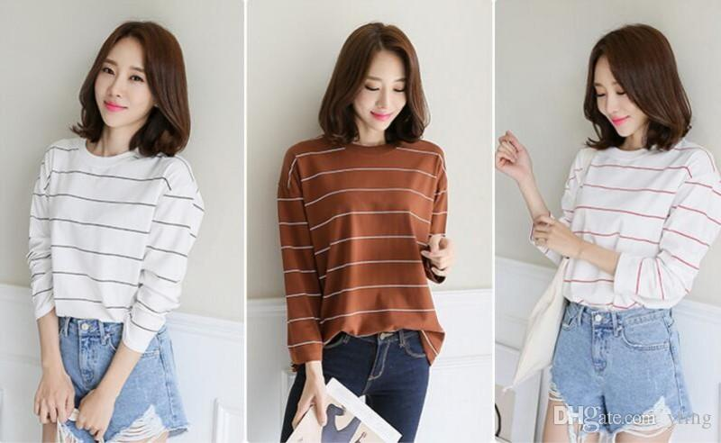Loose Korean Version T Shirts Round Neck Striped Ladies Nine Point Sleeves  Autumn Bottoming Shirt T Shirt 3 Styles Cool Team Shirts Crazy Shirt  Designs From ... a16cbc09d