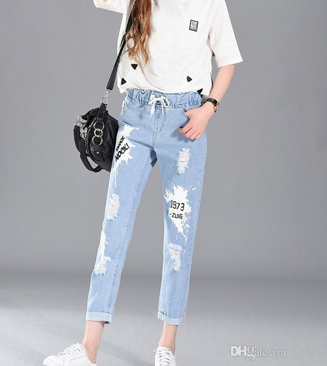 aaf62bd58f3ba New Plus Size High Waist Pencil Ripped Floral Hole Jeans Woman ...