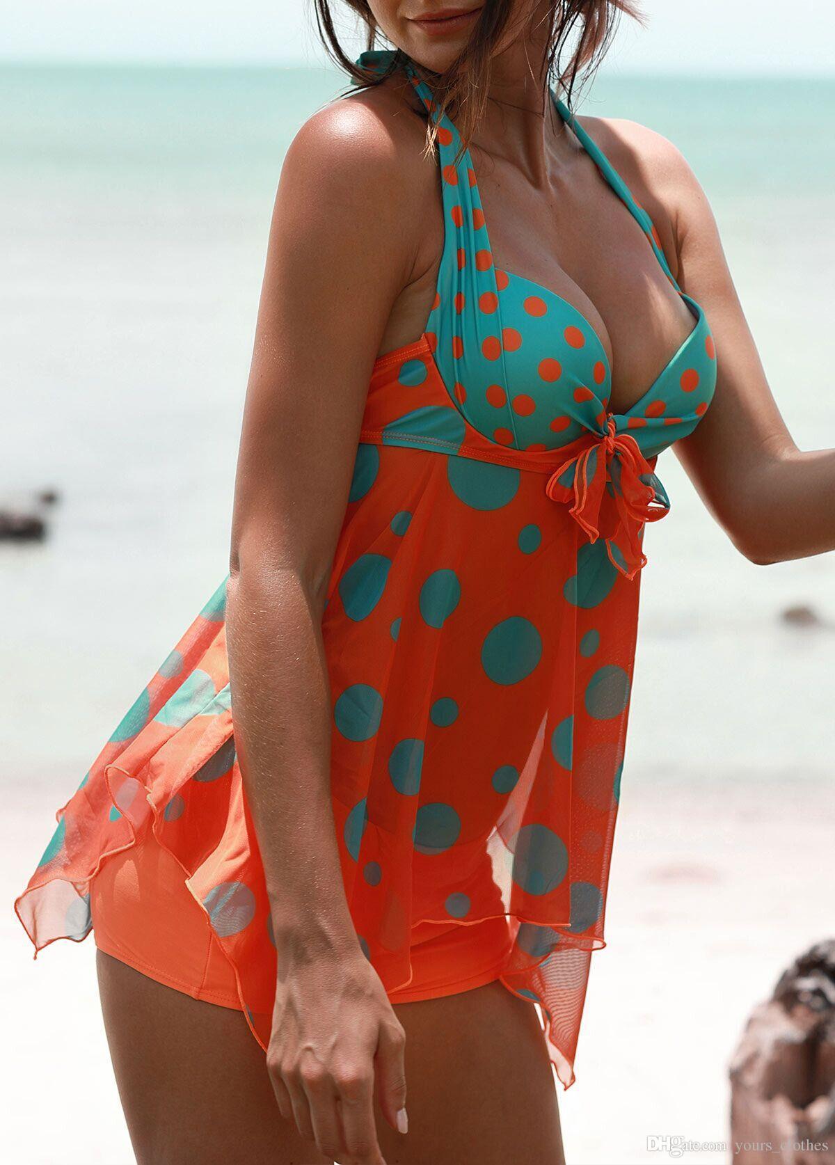 2018 New Bikinis Women Style Women Bikini Set Swimsuit Summer tops Beach Wear Bikini Set Push Up Swimwear Bandage Bathing Suit Orange